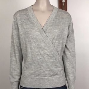 J Crew Wrap Sweater M Merino Wool Long Sleeve Gray
